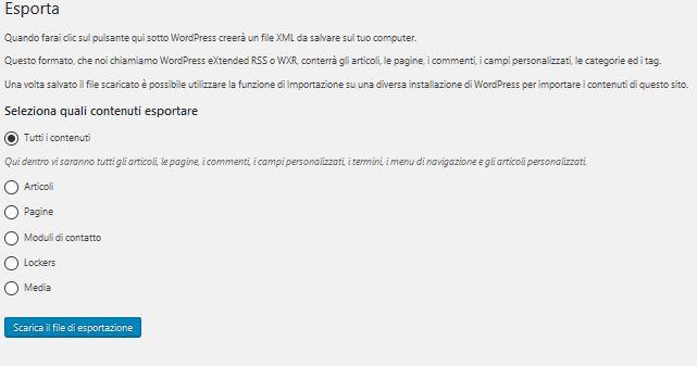 Esporta Usare Wordpress per creare un sito