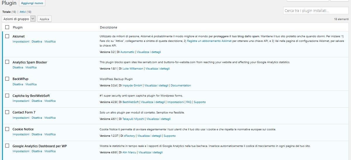 Plugin Usare Wordpress per creare un sito