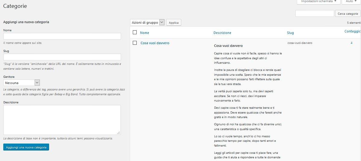 categorie Usare Wordpress per creare un sito