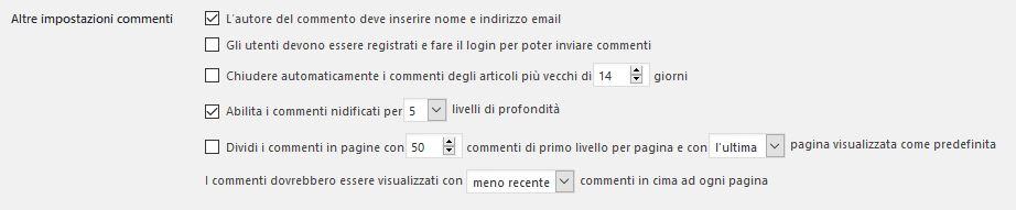 impostazioni-commenti Usare Wordpress per creare un sito