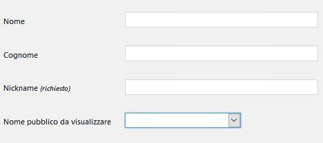 nome Usare Wordpress per creare un sito