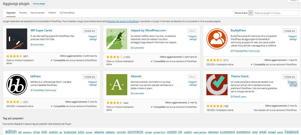 nuovo-plugin Usare Wordpress per creare un sito