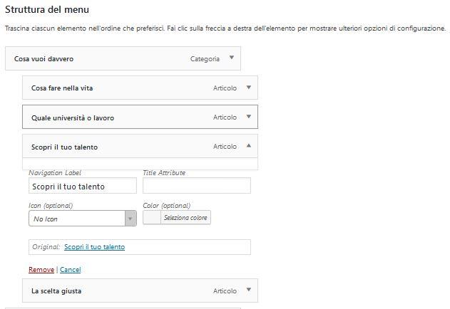 struttura Usare Wordpress per creare un sito